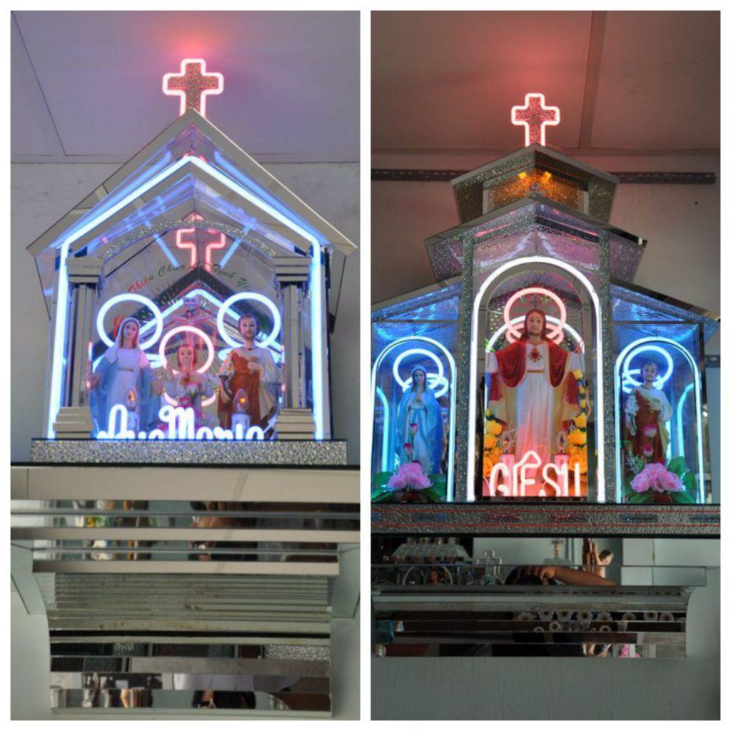 bàn thờ treo tường bằng kính