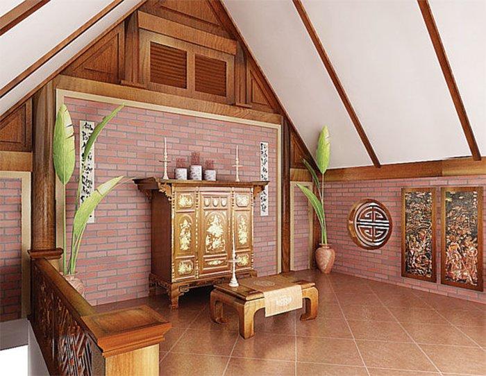 bố trí phòng thờ trong nhà ống - 1