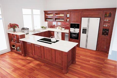 Tủ bếp gỗ tự nhiên gõ đỏ-Hoàn thiện công trình tủ bếp nhà chị Tươi-Vinhome Long Biên post image