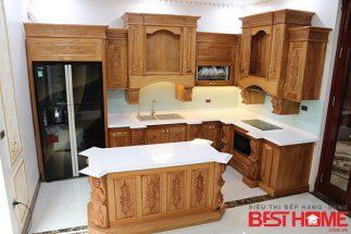 Tủ bếp gỗ tự nhiên – Hoàn thiện thiết bị công trình nhà anh Đạt – La Phù post image