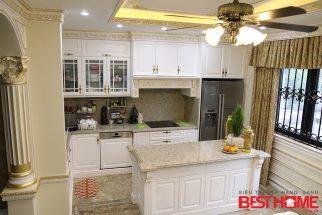 Tủ bếp gỗ sồi Mỹ sơn trắng-Tri ân khách hàng & bảo trì công trình tủ bếp nhà chị Hương post image