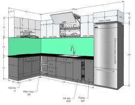 Kích thước tủ bếp tiêu chuẩn theo chiều cao của người Việt