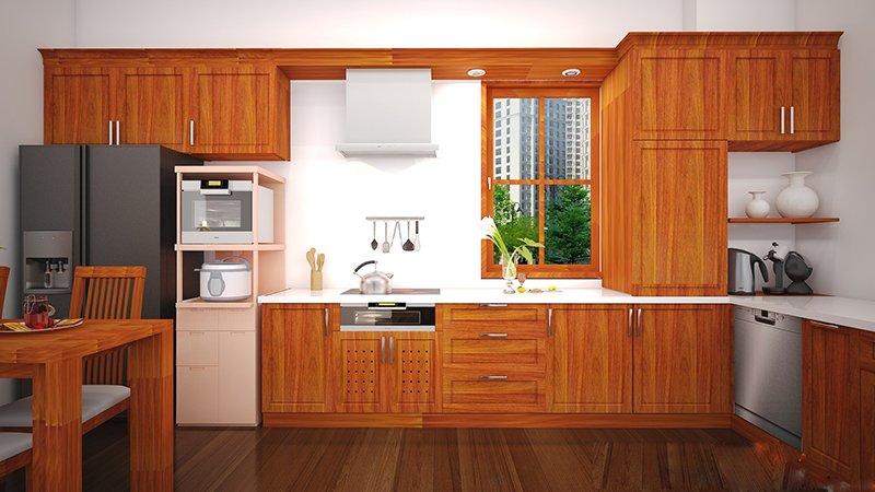 Mẫu tủ bếp gỗ tự nhiên đẹp Căm xe