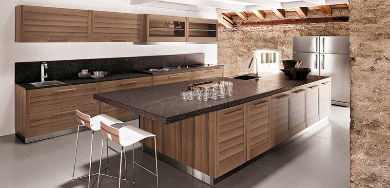 Mẫu tủ bếp gỗ tự nhiên đẹp Óc chó