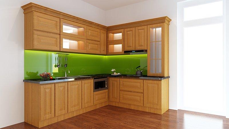 Mẫu tủ bếp gỗ tự nhiên đẹp Sồi