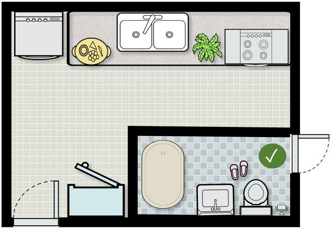 Mẹo hay hóa giải phong thủy nhà bếp và nhà vệ sinh đặt chung nhau