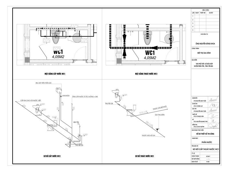 Sơ đồ thiết kế lắp đặt hệ thống cấp thoát nước cho nhà dân dụng