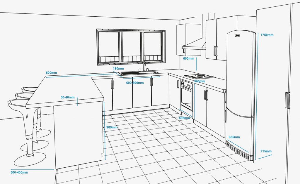 Kích thước và diện tích phòng bếp tiêu chuẩn bao nhiêu là hợp lý ?