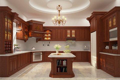 Thi công tủ bếp nhà chị Mai – Gỗ Hương thumbnail