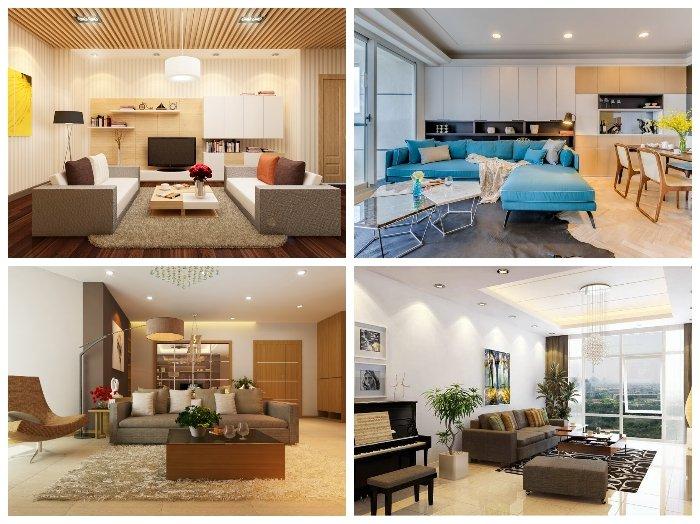 Thiết kế nội thất phòng khách chung cư ĐẸP HIỆN ĐẠI năm 2018