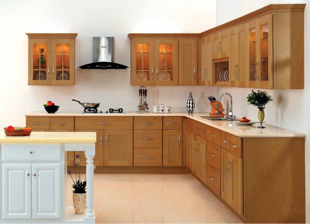 Mẫu tủ bếp chữ l đẹp chất liệu gỗ tự nhiên sang trọng, thiết kế nhỏ gọn cho không gian