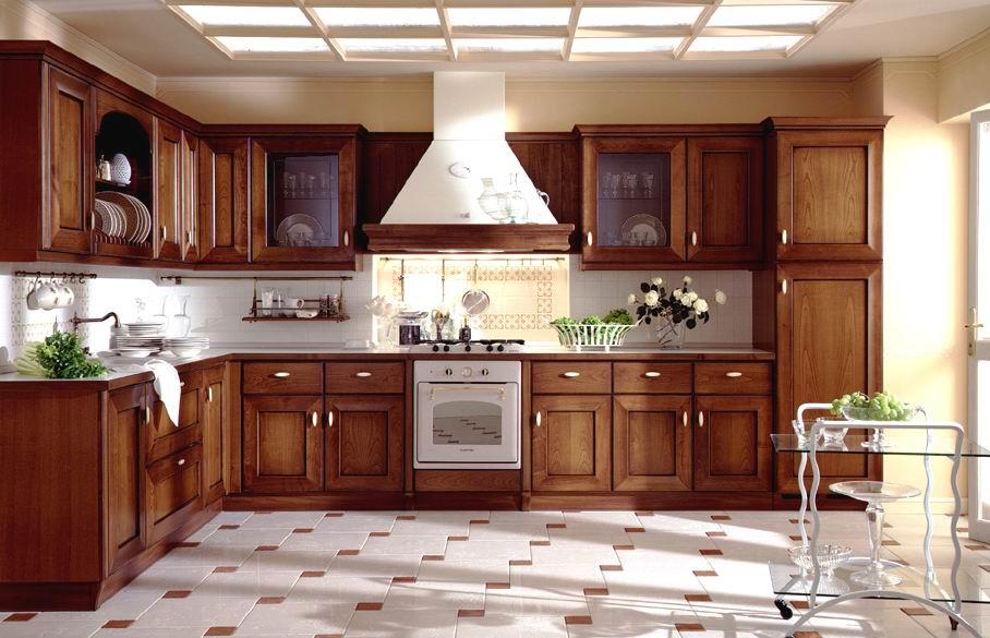 Mẫu tủ bếp gỗ sồi Nga chữ L sang trọng với màu gỗ trầm ấm