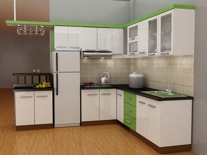 Tủ bếp chữ L dành cho chung cư bằng gỗ công nghiệp có quầy bar
