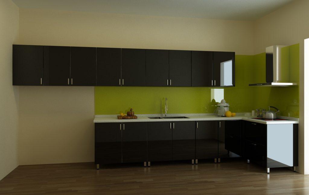 Mẫu tủ bếp chữ L màu nâu đen trầm ấm, thiết kế đơn giản nhưng sang trọng