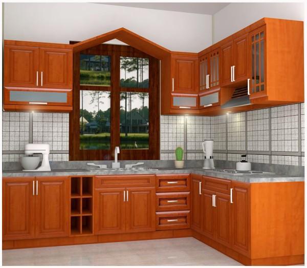 Dáng tủ bếp chữ L nhỏ làm bằng gỗ giáng hương phù hợp với nhiều không gian bếp của gia đình hiện đại