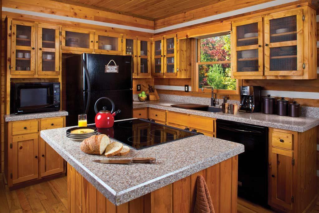 Mẫu tủ bếp hình chữ l gỗ sồi Mỹ