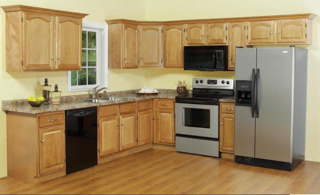Mẫu tủ bếp hình chữ l đẹp chất liệu gỗ tự nhiên bền đẹp, sang trọng nổi bật