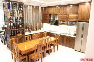 Tủ bếp gỗ óc chó – Hoàn thiện công trình tủ bếp nhà anh Á – Đại Kim, Hà Nội post image