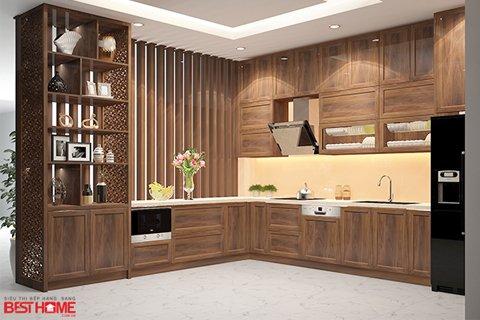 Tủ bếp gỗ óc chó – Hoàn thiện công trình tủ bếp nhà anh Á – Đại Kim, Hà Nội thumbnail