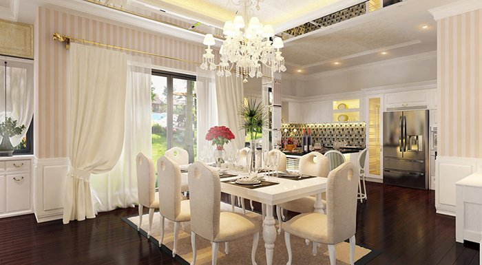 Khám phá mẫu thiết kế phòng ăn nhà chung cư Châu Âu đẹp sang trọng post image