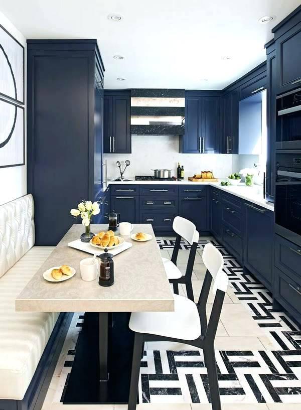 Mẫu thiết kế phòng ăn nhà biệt thự đẹp sang trọng màu xanh đậm
