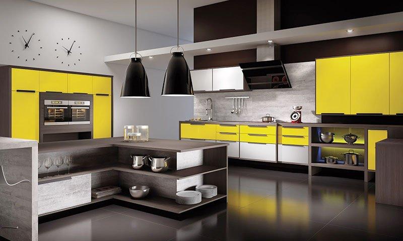 Mẫu thiết kế phòng ăn nhà biệt thự đẹp sang trọng màu vàng