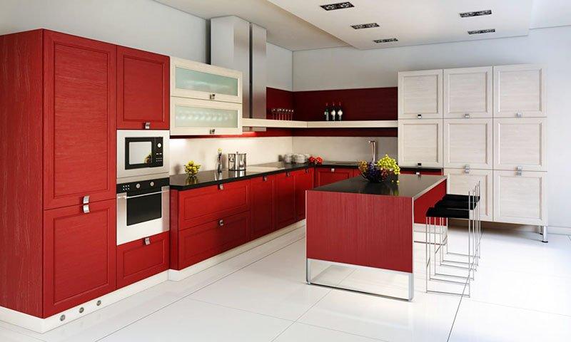 Mẫu thiết kế phòng ăn nhà biệt thự đẹp sang trọng màu đỏ