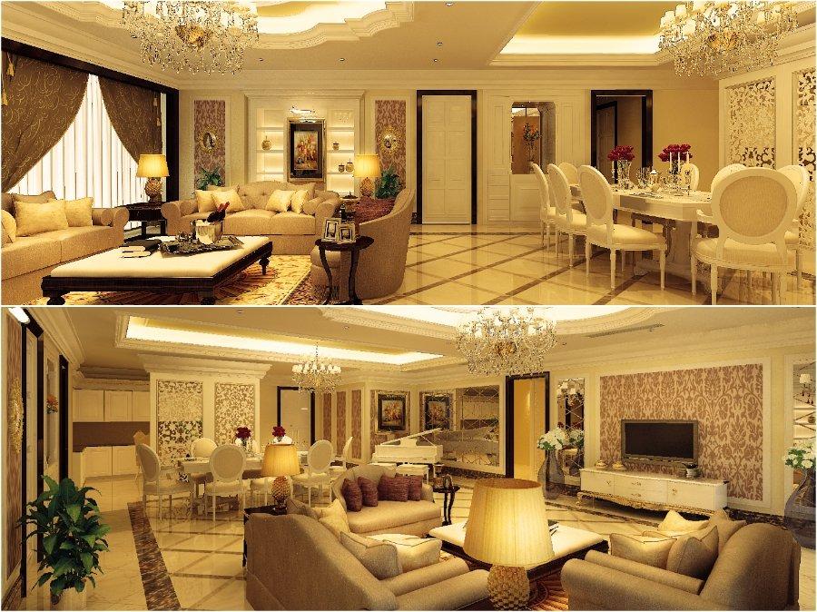 Mẫu thiết kế phòng khách chung cư sang trọng cổ điển