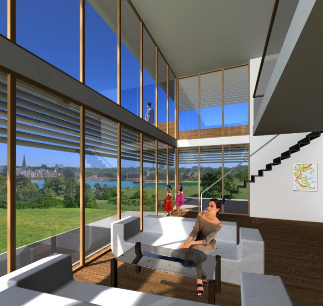 Phòng khách nhà biệt thự hiện đại thiết kế mở