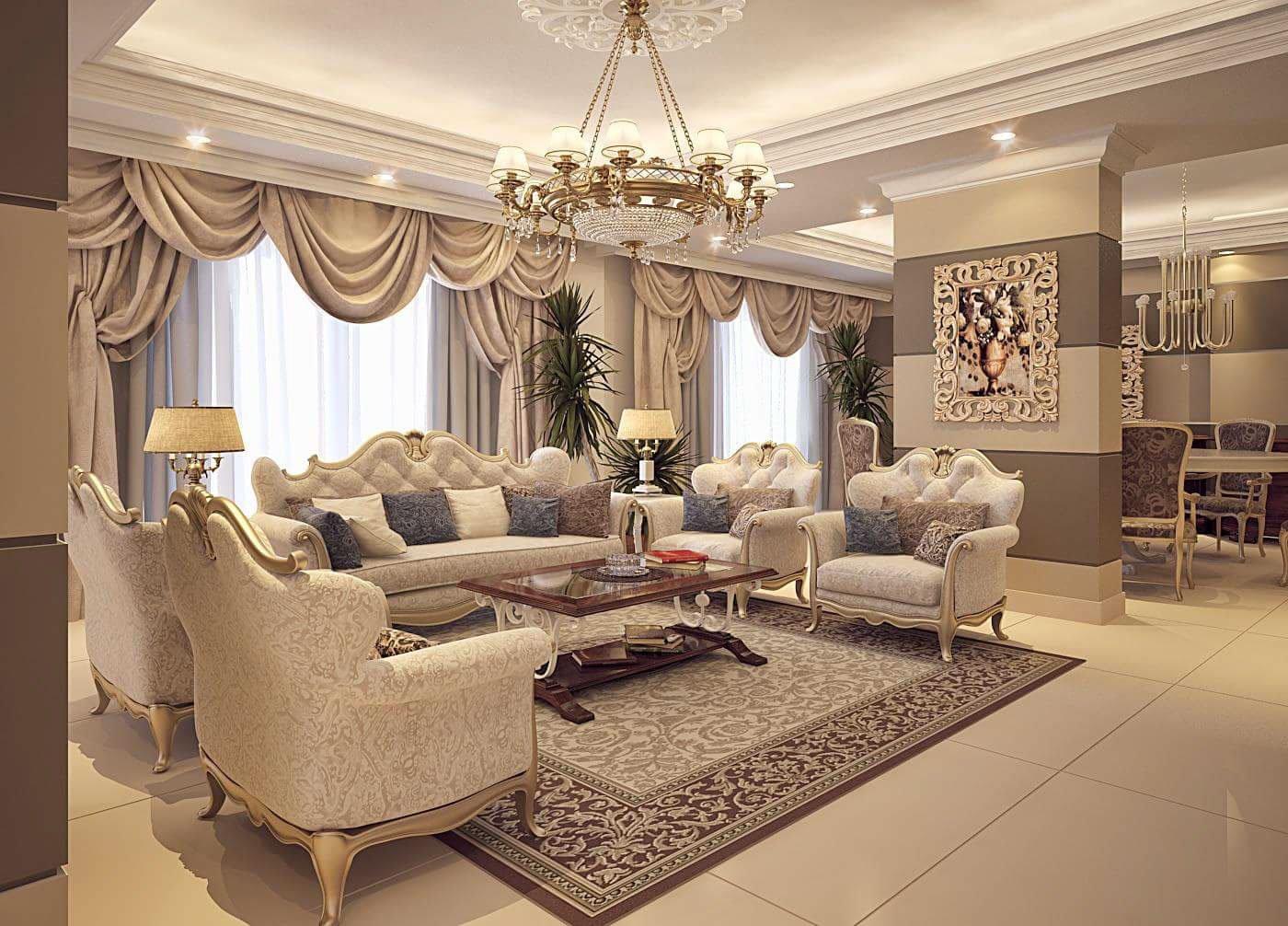Mẫu thiết kế phòng khách nhà chung cư sang trọng mang phong cách Ý