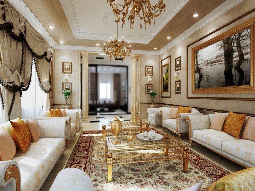 Mẫu thiết kế phòng khách nhà chung cư cao cấp đẹp sang trọng Châu Âu