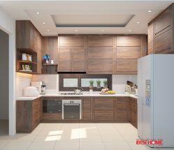 Tủ bếp gỗ sồi Mỹ – Hoàn thiện không gian bếp nhà Cô Kim Anh – Nguyễn Thị Định