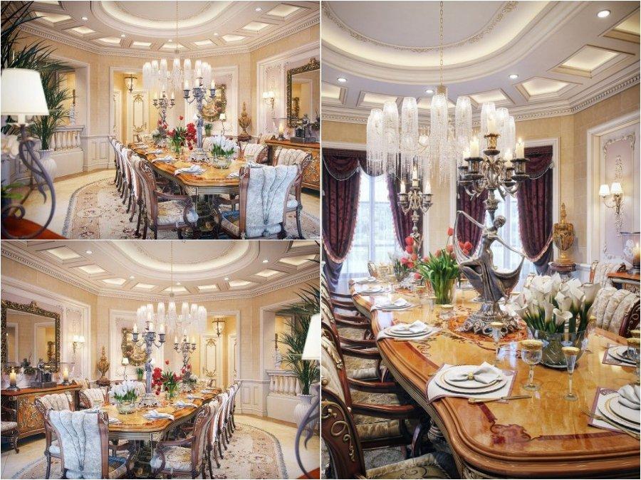 Mẫu thiết kế phòng ăn nhà biệt thự cao cấp từ Pháp
