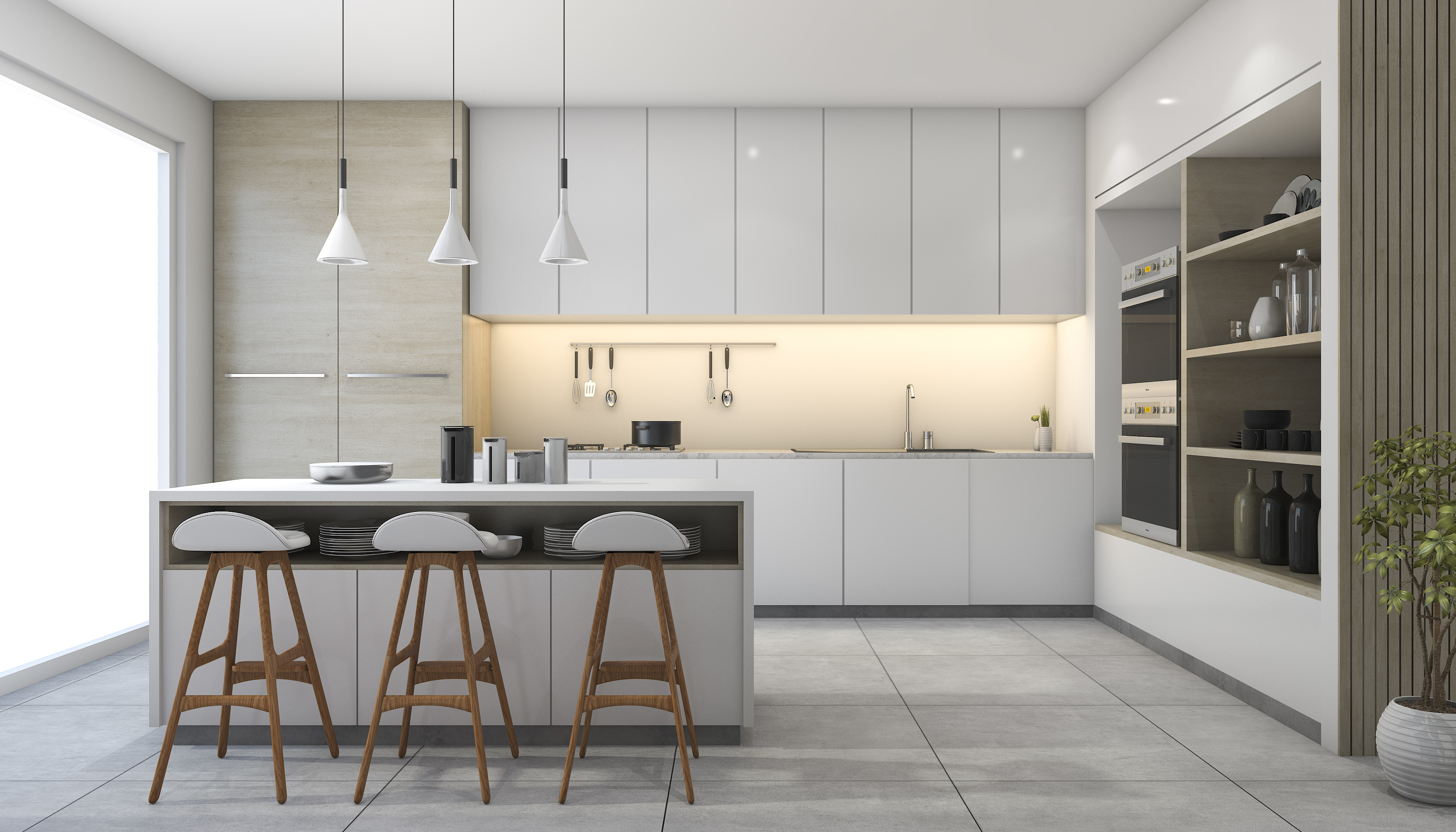 Mẫu thiết kế phòng bếp nhà biệt thự cao cấp phong cách Scandinavia