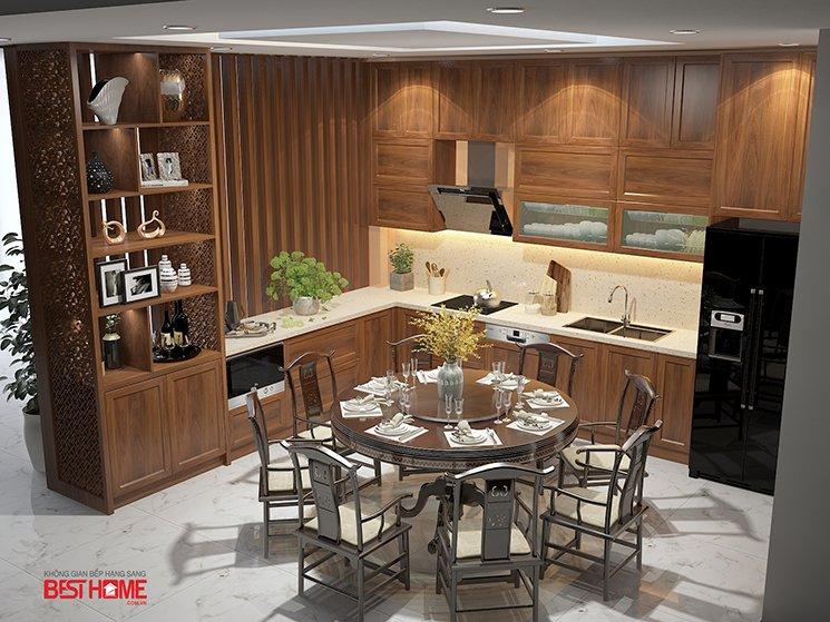 Phong cách tủ bếp hiện đại  – Tủ bếp kết hợp tủ rượu vách ngăn nhà anh Á – Đại Kim