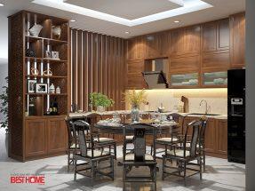 Phong cách tủ bếp hiện đại  – Tủ bếp kết hợp tủ rượu vách ngăn nhà anh Á – Đại Kim thumbnail