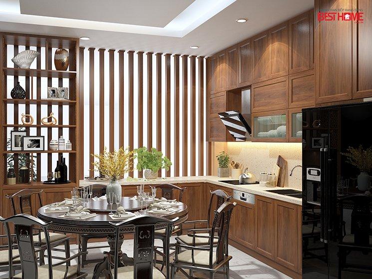 Phong cách tủ bếp hiện đại  – Tủ bếp kết hợp tủ rượu vách ngăn nhà anh Á – Đại Kim post image