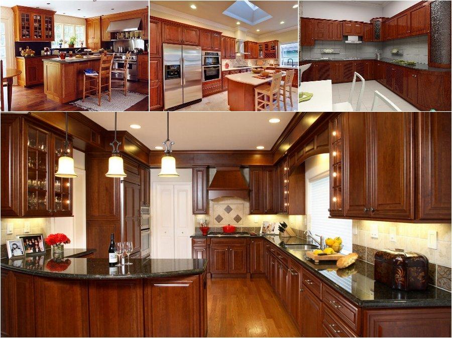 Mẫu tủ bếp gỗ hương đỏ cao cấp