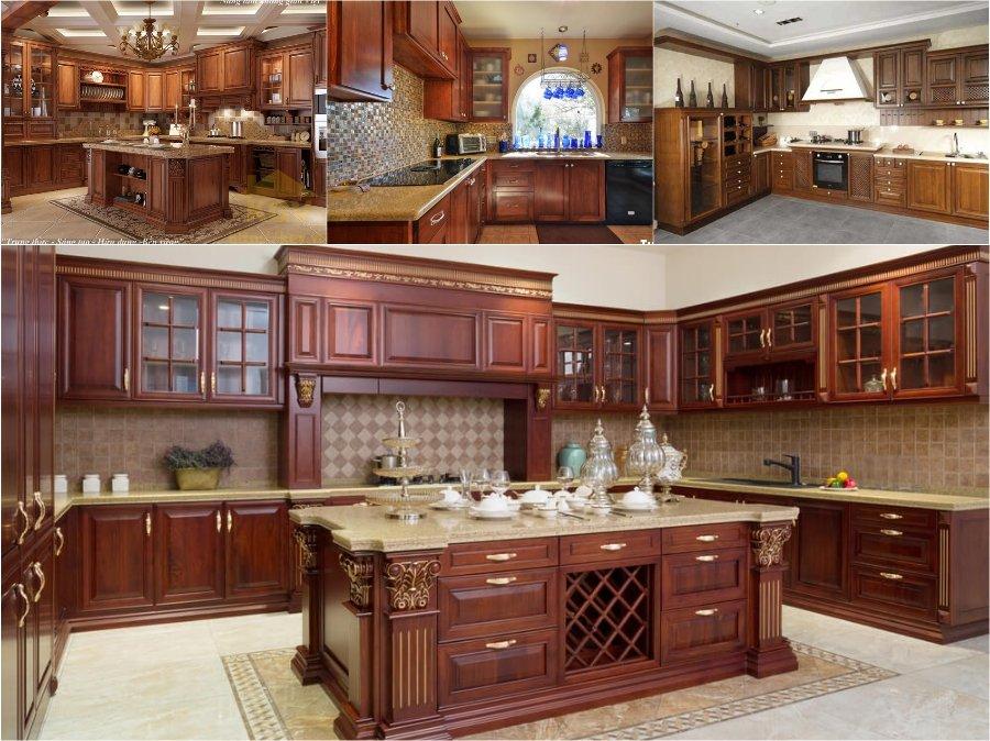 Mẫu tủ bếp gỗ hương vân cao cấp