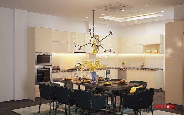 Không gian bếp hiện đại chất liệu Acrylic tại biệt thự nhà Mrs. Sự – Hà Đông