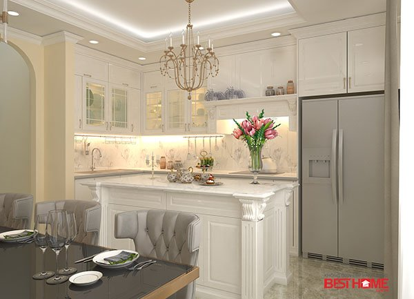 Công trình tủ bếp phong cách Tân Cổ Điển lộng lẫy nhà Mrs. Hương – Lệ mật – Long Biên