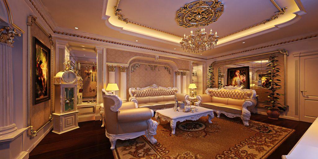Bàn ghế phòng khách tân cổ điển gam màu trầm ấm