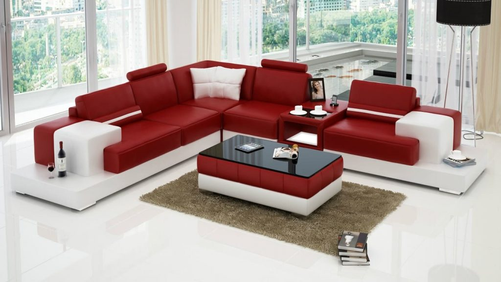 Bàn ghế sofa da phòng khách 4 chỗ ngồi cho không gian có diện tích rộng