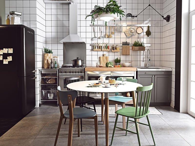 Thiết kế nội thất bằng độ họa hình học trong phòng bếp