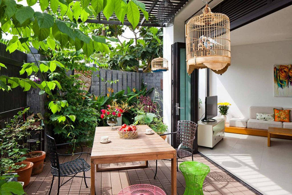 Để cây trước phòng khách tránh sự chiếu trực tiếp của ánh nắng lên các nội thất