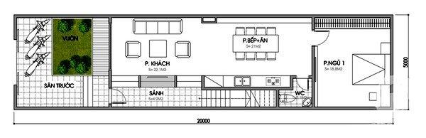 Bản vẽ mẫu nhà cấp 4 5x20 gồm 1 phòng ngủ