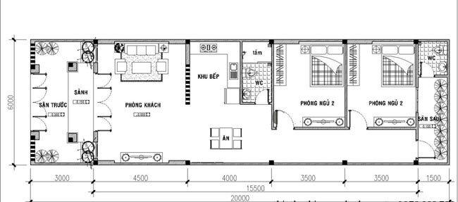 Bản vẽ mẫu nhà cấp 4 5x20 gồm 2 phòng ngủ và 1 phòng thờ