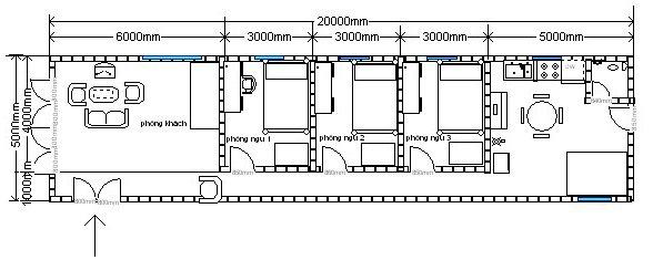 Bản vẽ mẫu nhà cấp 4 5x20 gồm 3 phòng ngủ