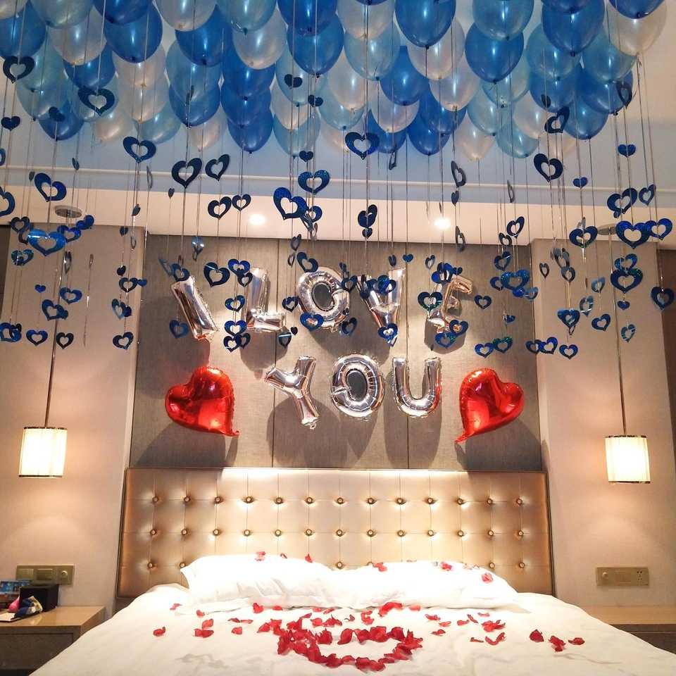 Trang trí phòng cưới với các tone màu xanh
