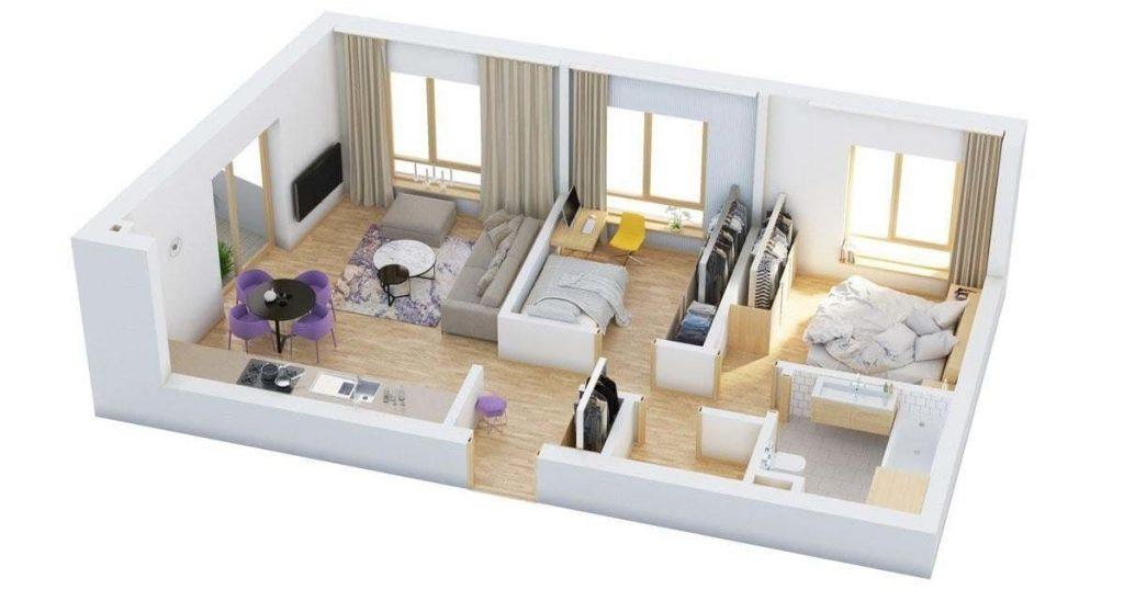 Bản vẽ nhà 1 tầng 2 phòng ngủ